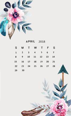 Floral April 2018 iPhone Calendar Wallpaper