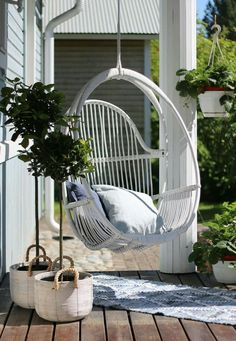 Latest Chairs For Living Room Outdoor Balcony, Backyard Patio, Outdoor Spaces, Outdoor Living, Design Shop, House Design, Sacred Garden, Hanging Swing Chair, Apartment Balconies