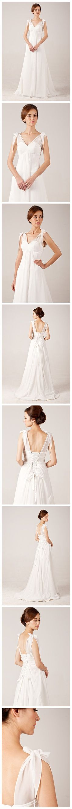 Graceful Simple V-neck Chiffon Wedding Dress with Bows On Shoulder