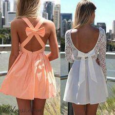 Vestido curto laranja branco renda