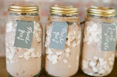 I never would have thought of doing homemade hot chocolate mix as a wedding favor! Such a good idea for an autumn/winter wedding! []