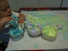 Shaving cream and washable finger paint! FUN