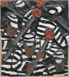 """February calendar image:  CHAIN GANG -  Dye on carved and tooled leather, 3 1/2 x 4"""""""