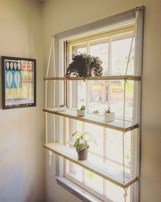 CUSTOM / Light Pine / Rope / Hardware / Minimilist / Hanging Shelf Unit - Custom wooden shelves made to order. Indoor gardens, succulent displays, the spread of plants, cutt - Playroom Organization, Organizing, Art Studio Organization, Organization Ideas, Home And Deco, Decor Room, Home Projects, Outdoor Projects, Home Decor Ideas