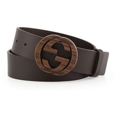 f5a86fb6d0a Gucci Wood Interlocking G Buckle Leather Belt ( 340) via Polyvore featuring  mens