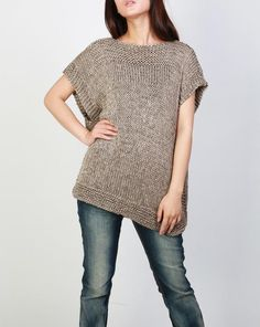 New design for this FALL/ WINTER! This beautiful and unique tunic sweater vest will make you stylish and on trend. It is made of 100% eco cotton yarn in a nice mocha shade. No itch at all! It has unique trim pattern designed on top neckline, sides and bottom.   It is features on: 1. drop