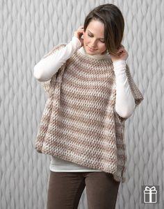 Mujer 80 Otoño / Invierno   22 poncho fácil, dos rectángulos iguales