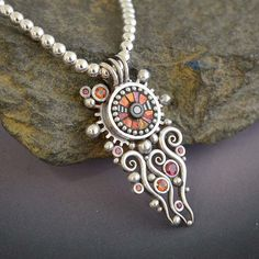 Silver Solstice Necklace Pendant with red and by LizardsJewelry