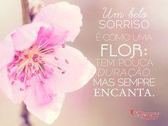 Um belo sorriso é como uma flor: tem pouca duração, mas sempre encanta.