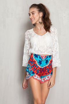 Short babados estampado marselha | Dress to