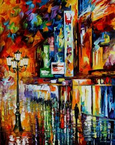 The Song Of The City night city oil painting by AfremovArtStudio
