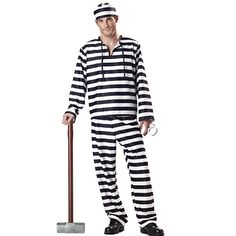 Fun Black / White Stripes Robber PRISONER INMATE Uniform outfit STAG night COSTUME Robbers burglar Convict Party crimial Fancy Dress with HAT & HANDCUFFS ( one size regular for mens size M / L eu 50 52 )