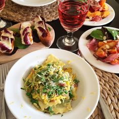 Taking advantage of fresh local ingredients tonight. Ravioli with bacon, peas and zucchini, beets and melted Brie on toast and a peach and Parma ham salad. Love this time of year! Parma Ham, Ham Salad, Ravioli, Brie, Beets, Zucchini, Bacon, Toast, Peach