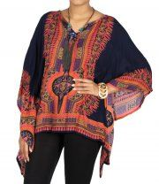 Printed Navy Batwing Top