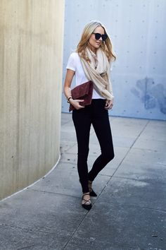 Fashion Jackson // Fall Outfit @nordstrom // black skinny jeans, white tshirt, beige scarf, black lace up flats