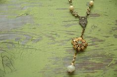 Antique Jewelry Vintage Rosary Necklace Yellow by AmbientAtelier