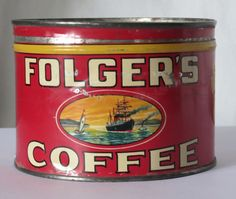 Folger's Coffee Golden Gate Brand Vintage 1 lb Tin Copyright 1931 | eBay.  I found this at an estate sale that had not been well advertised.  There was a small sign on the highway and had I not turned around, I would have missed many treasures.