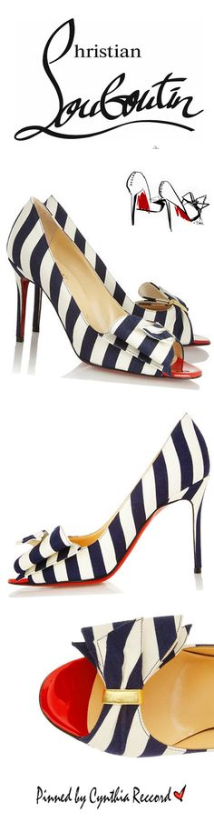 CHRISTIAN LOUBOUTIN 'JUST SOON' 85 STRIPED CANVAS PUMPS | cynthia reccord