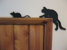 Creeping Cat And Mouse Silhouette Door Topper Chic shabby