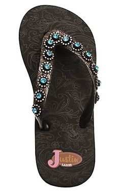 Justin® Stace™ Ladies Black with Turquosie Jewels Flip-Flop by M® | Cavender's Boot City