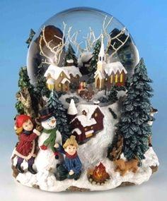 Boule à neige musicale de Noël avec mécanisme musical traditionnel à ressort de 18 lames - Référence boule à neige musicale de Noël : 46076