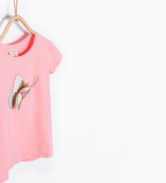 Image 1 of Sequin butterfly T-shirt from Zara