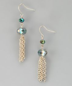 Take a look at this Alexa Starr Emerald & Matte Gold Tassel Drop Earrings by Alexa Starr Jewelry on #zulily today!