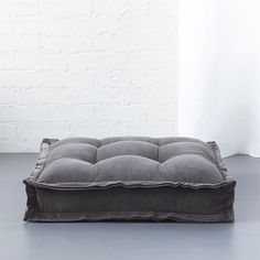 "CB2 Velvet Grey 23"" Floor Cushion (€71) ❤ liked on Polyvore featuring home, home decor, throw pillows, square throw pillows, velvet accent pillows, gray home decor, grey accent pillows and oversized throw pillows"