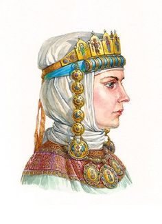 Russian princess in enamel headwear with tiara and kolt, second half of XII — early XIII centuries. According to the materials of the Kiev treasures.