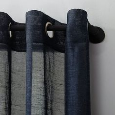 Shop for Archaeo Slub Textured Linen Blend Grommet Top Curtain. Get free delivery On EVERYTHING* Overstock - Your Online Home Decor Outlet Store! Cool Curtains, Beautiful Curtains, Hanging Curtains, Sheer Curtains, Curtain Fabric, Curtain Rods, Panel Curtains, Navy Blue Curtains, Curtain Styles