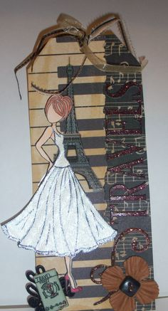 Travel to Paris Tag created by Tami. Using the Julie Nutting Doll Stamp.