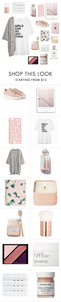 """r o s e"" by thunderingwaves ❤ liked on Polyvore featuring Miss Selfridge, Zadig & Voltaire, H&M, ban.do, Henri Bendel, Laura Mercier, Lancôme, Elizabeth Arden, NARS Cosmetics and Christy"
