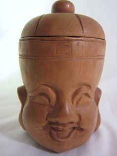 Vintage Wood Carved Smiling Laughing Buddha Cup by RetroOdditorium