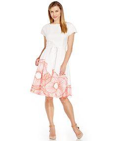 Anne Klein Floral-Print Pleated Cotton Dress