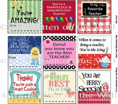 {Freebies} Teacher Appreciation Notes-use as a tag for a gift. Some of them are themed for specific gifts and others are not.