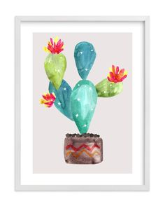 """""""Cactus-In-Bloom"""" - Limited Edition Art Print by Daniela in beautiful frame options and a variety of sizes."""