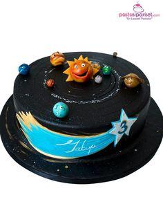 Children's Birthday Cakes - Solar System for 3 years old boy Toddler Birthday Cakes, 3rd Birthday Cakes, Candy Cakes, Cupcake Cakes, Cupcakes, Solar System Cake, Alien Cake, Planet Cake, Galaxy Cake
