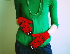 Ladybug Gloves ADULT SIZE Christmas Gift for girl by warmYourself
