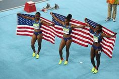 Rio 2016 Olympic Games, Athletics, Olympic Stadium, Brazil - 17 Aug 2016Mandatory Credit: Photo by ddp USA/REX/Shutterstock (5831252s) Brianna Rollins, Kristi Castlin, and Nia Ali (USA) celebrate after winning medals during the women's 100m hurdles final Rio 2016 Olympic Games, Athletics, Olympic Stadium, Brazil - 17 Aug 2016