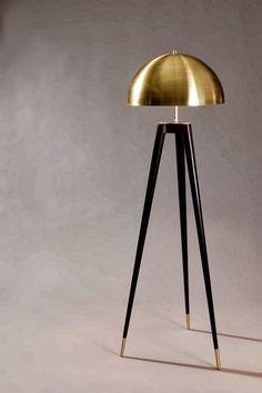 Fife tripod lamp by Matthew Fairbank Design. Spun brass shade, lathe turned ebonized oak legs and brass feet. Interior Lighting, Home Lighting, Modern Lighting, Lighting Design, Lighting Stores, Blitz Design, Handmade Lamps, Luminaire Design, Modern Floor Lamps