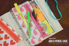 five sixteenths blog: Make it Monday // A Pencil Case for a Small 3 Ring Binder