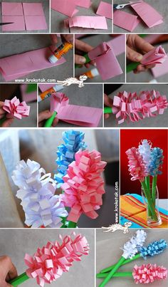 paper flowers Tissue Paper Crafts, Paper Flowers Diy, Flower Crafts, Bee Crafts, Preschool Crafts, Crafts For Seniors, Crafts For Kids, Kindergarten Art Projects, Mother's Day Diy