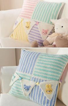 Royal Welcome Baby Pillow - Stripes and bunnies and bears, oh my! These sweet-themed pillows add the finishing touch to baby's nursery. Crochet yours to go with colors of your baby's room. For coordinating cube cozy and bunting designs see patterns LW3649 and LW3651.  free pdf from RH