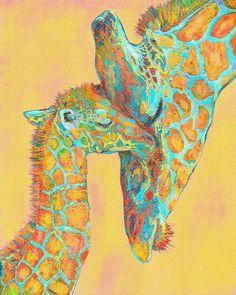 ARTIST: Jane Schnetlage Orange And Aqua Giraffes An affectionate mother and baby giraffe in shades, of gold, orange and aqua. Digital Art - Digital Painting LOVELOVELOVE maybe different colors though Giraffe Decor, Giraffe Art, Baby Animals, Cute Animals, Baby Giraffes, Wild Animals, Kids Prints, Art Prints, Worlds Cutest Animals