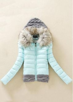 Mint & fur hooded winter coat with knit trim