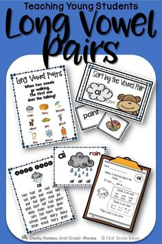 Young students need to master long vowels to become successful readers! This unit has everything you need to teach ai, ay, ea, ee, ie, ue, and the long sound of ow. It includes mini-lessons and word banks to independent work and literacy center activities