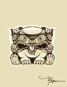 okinawan shisa sketch - for tattooOmG he is so stinking cute!!!