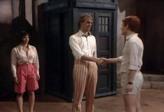 Peri, the Doctor and Turlough. And those shorts! Turlough should of dressed like this more often.