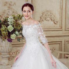 Doresuwe.com SUPPLIES 2016新品 オフショルダー 袖付き レースの綺麗目豪華結婚式ドレス ロングドレス 花嫁ドレス ウェディングドレス 2016 ウェディングドレス (6)