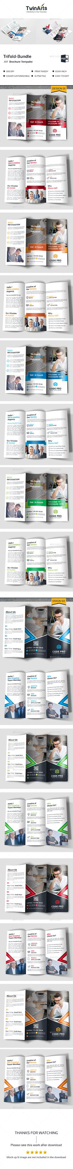 Trifold Brochure Template PSD Bundle